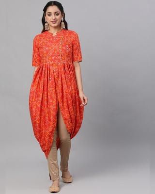 Shop AKS Orange & Gold Bandhani Printed Dhoti Design Kurta-Front