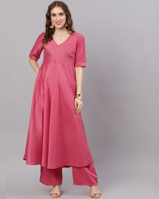 Shop AKS Pink Chinon Sequence Work Anarkali-Front