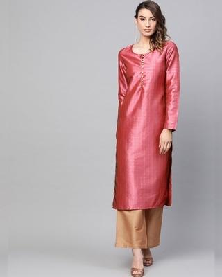 Shop AKS Pink self designed straight kurta-Front