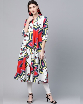 Shop AKS White Red and Yellow A-Line Kurta-Front