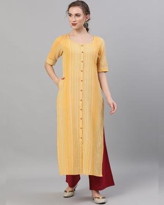 Shop AKS Yellow Striped handloom Design Straight Kurta-Front