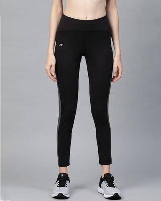Shop Alcis Women Black Secure Fit Solid Cropped Training Tights-Front