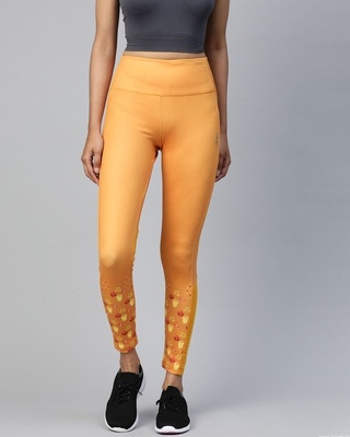 Shop Alcis Women Mustard Yellow Printed Detail High-Rise Tights-Front