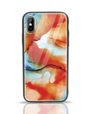 Shop Alcohol Ink Splash iPhone XS Glass Mobile Cover-Front