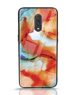 Shop Alcohol Ink Splash OnePlus 6T Glass Mobile Cover-Front