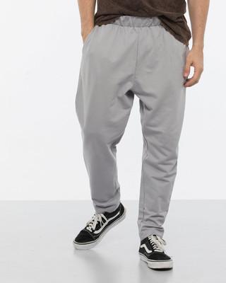 Shop Alloy Grey Drop Crotch Fleece Pants-Front