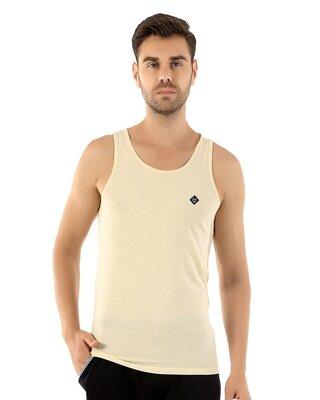 Shop Almo Fresco Slim Fit Cotton Vest - Tan-Front