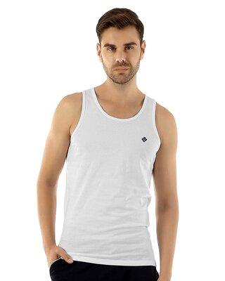 Shop Almo Fresco Slim Fit Cotton Vest - White-Front