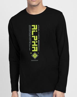 Shop Alpha Class Full Sleeve T-Shirt Black-Front
