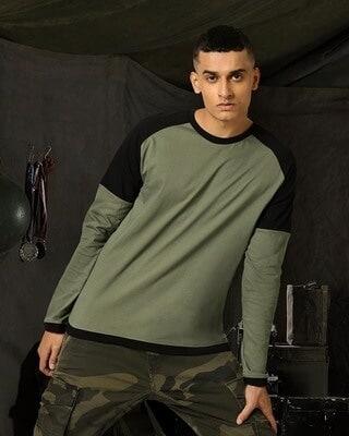 Shop Alpha Green Full Sleeve Color Block T-Shirt-Front