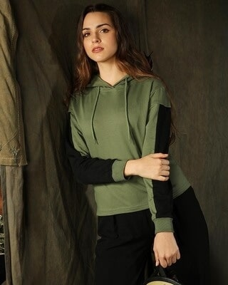 Shop Alpha Green Short Drop Shoulder Hoodie-Front