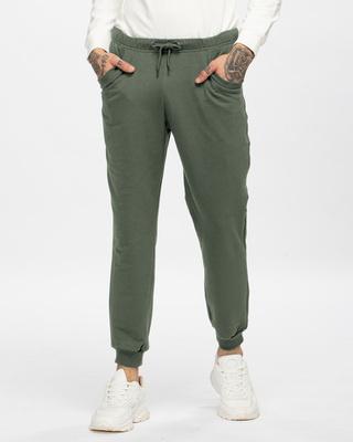 Shop Alpha Green Casual Jogger Pants-Front