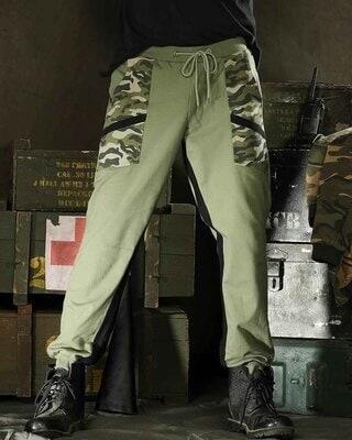 Shop Alpha Green Diagonal Pocket Jogger-Front