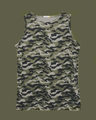 Shop Alpha Green Round Neck Camo Vest-Front