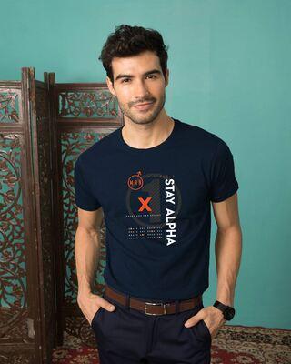 Shop Alpha Half Sleeve T-shirt Navy Blue-Front