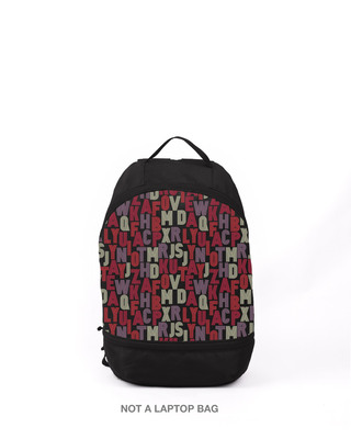 Shop Alphabets Printed Small Backpack-Front