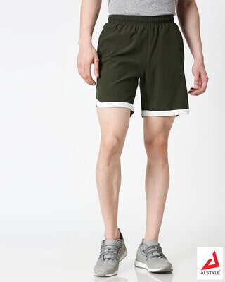 Shop ALSTYLE Men Olive Shorts-Front