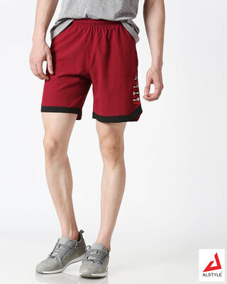 Shop ALSTYLE Men Wine Shorts-Front
