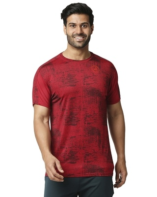 Shop ALSTYLE Printed Men Round Neck Maroon T-Shirt-Front