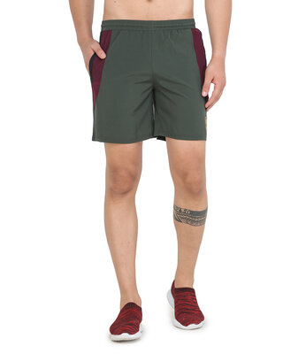 Shop ALSTYLE Solid Men Green Basic Shorts-Front