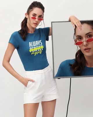 Shop Always Myself Half Sleeve Printed T-Shirt Digital Teal -Front