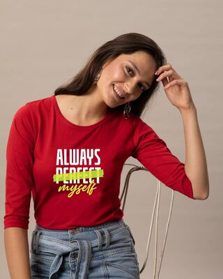 Shop Always Myself Round Neck 3/4 Sleeve T-Shirts Bold Red-Front