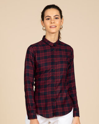 Shop Amaranth Blue Checked Shirt-Front