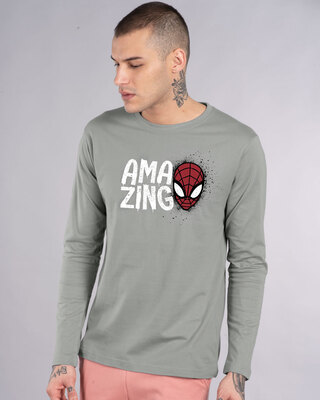 Shop Amazing Spidey Full Sleeve T-Shirt (SML)-Front