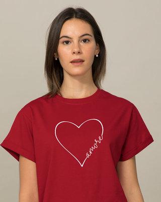 Shop Amore Heart Boyfriend T-Shirt-Front