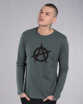 Shop Anarchy Logo Full Sleeve T-Shirt-Front