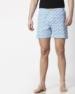 Shop Anchored White Knitted Boxers-Front