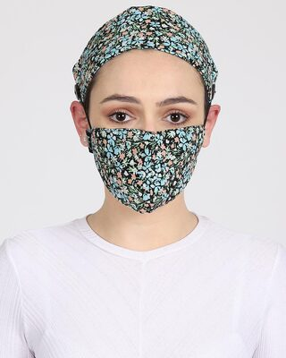 Shop Anekaant 3-Ply Black & Multi Floral Printed Rayon Fabric Fashion Hairband & Mask-Front