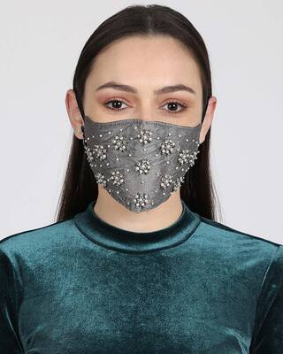 Shop Anekaant 3-Ply Grey & White Faux Silk Embellished Fabric Fashion Mask-Front
