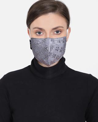 Shop Anekaant 3-Ply Grey Art Silk Embellished Fabric Fashion Mask-Front