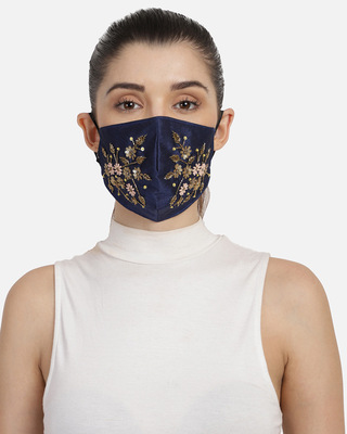 Shop Anekaant 3-Ply Navy Blue & Gold Faux Silk Embellished Fabric Fashion Mask-Front