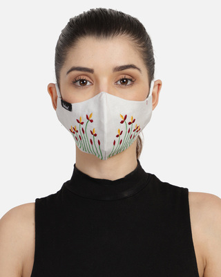 Shop Anekaant 3-Ply Off White & Multi Cotton Embroidered Fabric Fashion Mask-Front