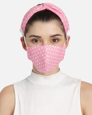 Shop Anekaant 3-Ply Pink & White Polka Dot Printed Cotton Fabric Fashion Hairband & Mask-Front