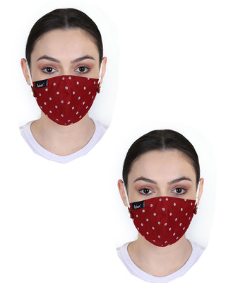 Shop Anekaant 3-Ply Red & White Polka Dot Printed Rayon Fabric Fashion Mask Pack of 2-Front