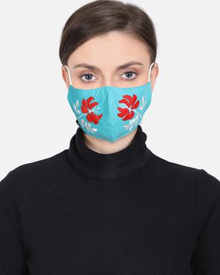 Shop Anekaant 3-Ply Reusable Aqua & Multi Embroidered Cotton Fabric Fashion Mask-Front