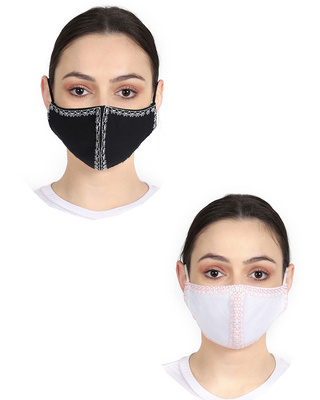 Shop Anekaant 3-Ply Reusable Black & White Embroidered Cotton Fabric Fashion Mask Pack of 2-Front