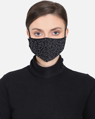 Shop Anekaant 3-Ply Reusable Black Embellished Cotton Fabric Fashion Mask-Front
