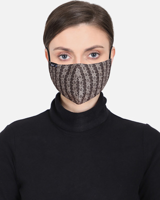 Shop Anekaant 3-Ply Reusable Brown Striped Woolen Fabric Fashion Mask-Front