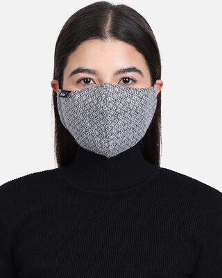 Shop Anekaant 3-Ply Reusable Grey Ogee Patterned Woolen Fabric Fashion Mask-Front