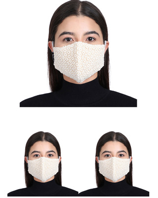 Shop Anekaant 3-Ply Reusable Off White Cotton Fabric Fashion Mask Pack of 3-Front