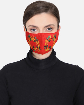 Shop Anekaant 3-Ply Reusable Red & Multi Embroidered Cotton Fabric Fashion Mask-Front