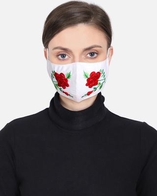 Shop Anekaant 3-Ply Reusable White & Multi Floral Embroidered Cotton Fabric Fashion Mask-Front