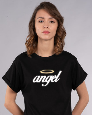 Shop Angel Halo Boyfriend T-Shirt-Front
