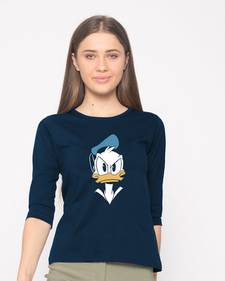 Shop Angry Donald Round Neck 3/4th Sleeve T-Shirt (DL)-Front