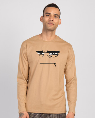 Shop Angry Zip Full Sleeve T-Shirt Dusty Beige-Front