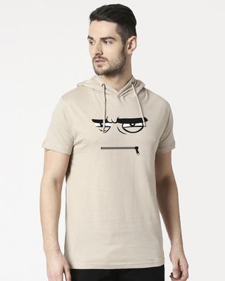 Shop Angry Zip Half Sleeve Hoodie T-shirt-Front